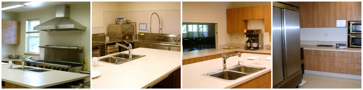 sink faucet, fridge, counters